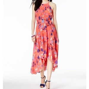 Vince Camuto Ruffled Floral Print High-Low Dress